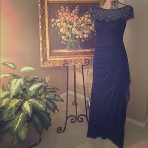 """XSCAPE"" Navy Blue Beaded Top Dress."